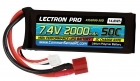 Lectron Pro 7.4V 2000mAh 50C Lipo Battery with Deans-type Connector for 1/16 & 1/18 Scale Cars & Trucks, Mid-size Foamies