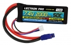 Lectron Pro 7.4V 2000mAh 50C Lipo Battery with EC3 Connector for 1/16 & 1/18 Scale Cars & Trucks, Mid-size Foamies