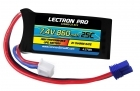 2-Packages of Lectron Pro 7.4V 860mAh 25C Lipo Battery with EC2 Connector for Losi Mini T