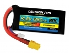 Lectron Pro 14.8V 1350mAh 80C Lipo Battery with XT60 Connector for FPV Racers