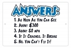 Aluminum Sign - Answers - 8x12 in.