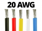 20 Gauge Silicone Wire (By the Foot) - Available in Black, Blue, Red, White, and Yellow