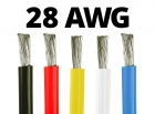 28 Gauge Silicone Wire (By the Foot) - Available in Black, Blue, Red, White, and Yellow