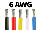 6 AWG Gauge Silicone Wire (By the Foot) - Available in Black, Blue, Red, White, and Yellow